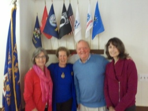 Sara Idleman, Nan Fitzpatrick & Susan Frisbee with author Joe Cutshall-King Greenwich Seniors Lunch