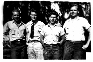 PT Boat 27 Crew l-r--Stan Lewis, Lt. George A. King [Commanding Officer], Jack Gilligan & Bill Maynard; South Pacific